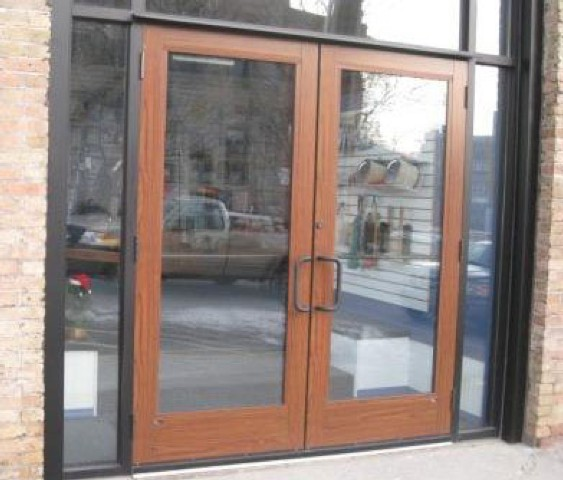 Wood Grain Store Front Doors W Faux Wood Powder Coating